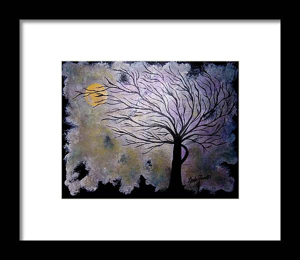28 Inch Abstract Acrylic Night Landscape Framed Print featuring the painting October Night 3 by Linda Powell