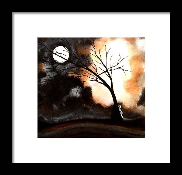 Abstract Framed Print featuring the painting October Night 4 by Linda Powell