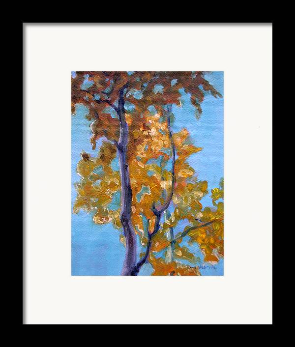 Landscape Framed Print featuring the painting October by Tahirih Goffic