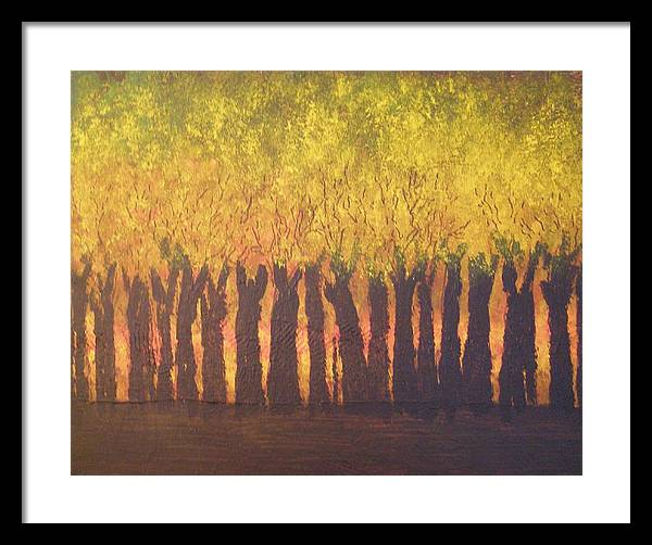 Abstract Expressionism Framed Print featuring the painting October Trees At Sunset by Don Phillips
