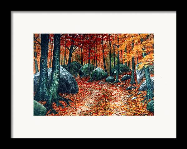 Landscape Framed Print featuring the painting October Woodland by Frank Wilson