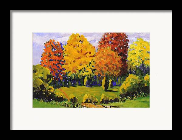 Landscape Framed Print featuring the painting October Woods by Jonathan Carter