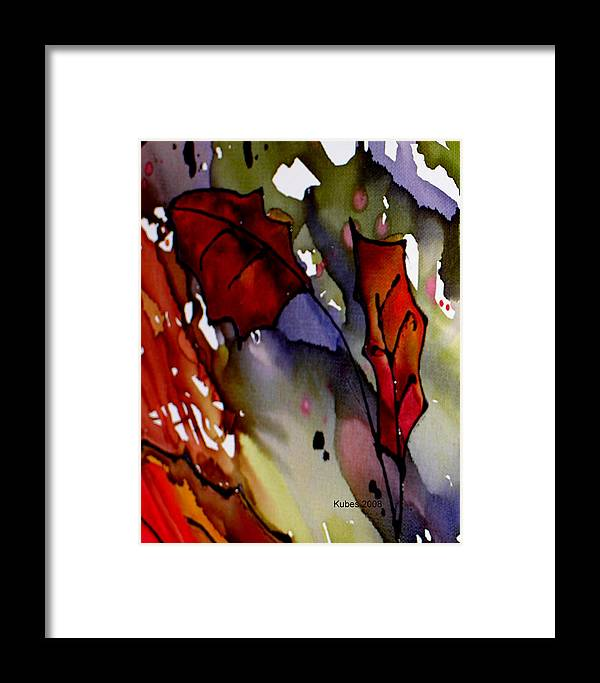 Leaf Framed Print featuring the mixed media Octoberfirst by Susan Kubes