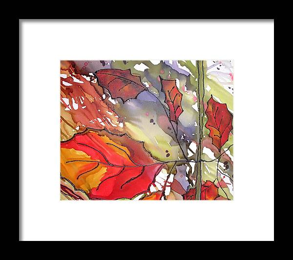 Leaf Framed Print featuring the mixed media OctoberThird by Susan Kubes