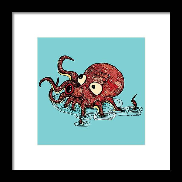 Drawing Framed Print featuring the drawing Octopus - Color by Karl Addison