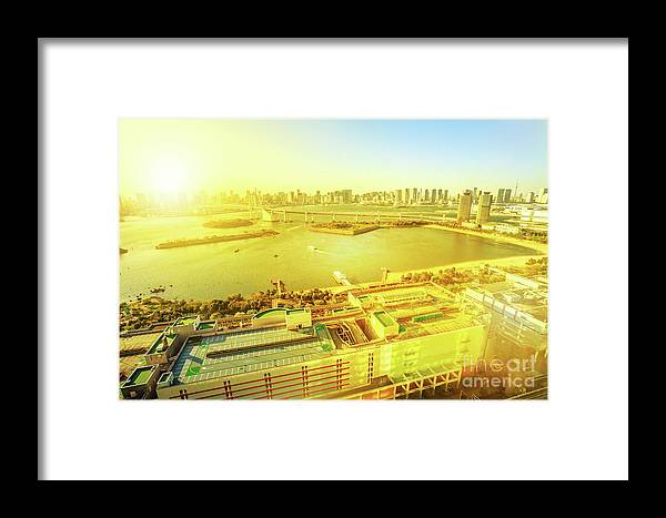 Tokyo Odaiba Framed Print featuring the photograph Odaiba Sunset Aerial View by Benny Marty