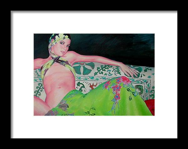 Donna Framed Print featuring the painting Odalisca by Gustavo Aresu