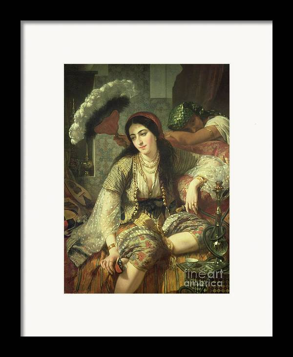 Odalisque Framed Print featuring the painting Odalisque by Jean Baptiste Ange Tissier