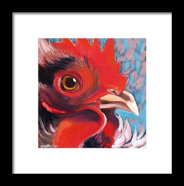 Animals Framed Print featuring the painting Oeil De Poulet by Sandra Smith-Dugan