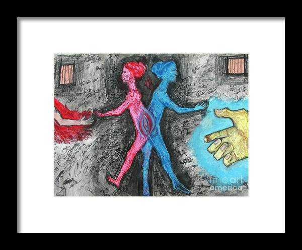 Spirit Framed Print featuring the painting Of 2 Minds by Sarah Goodbread