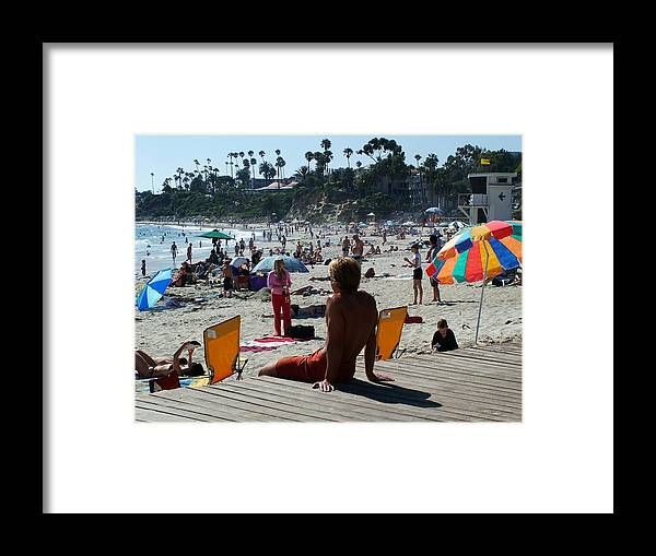 Laguna Beach Framed Print featuring the photograph Off Duty Lifeguard by John Loyd Rushing