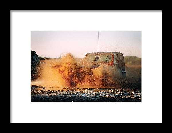 Off Road Driving Framed Print featuring the photograph Off Road Mud Splash-1 by Steve Somerville
