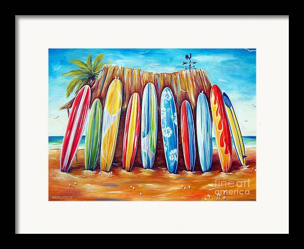 Surf Framed Print featuring the painting Off-shore by Deb Broughton