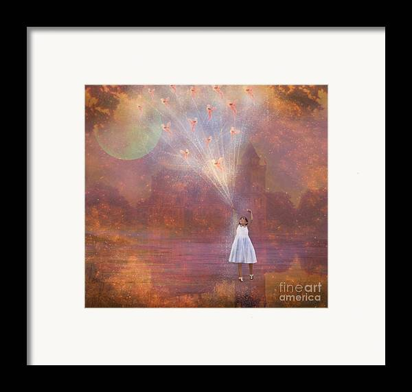 Fairyland Framed Print featuring the painting Off To Fairy Land - By Way Of Fairyloons by Carrie Jackson