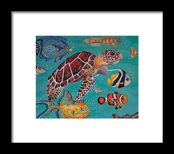 Fish Sea Turtle Clown School Ocean Whimsical Bubbles Framed Print featuring the painting Off To School by Emily Reynolds Thompson