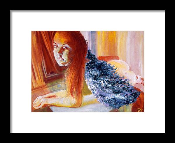 Portrait Framed Print featuring the painting Office Angel II by LB Zaftig