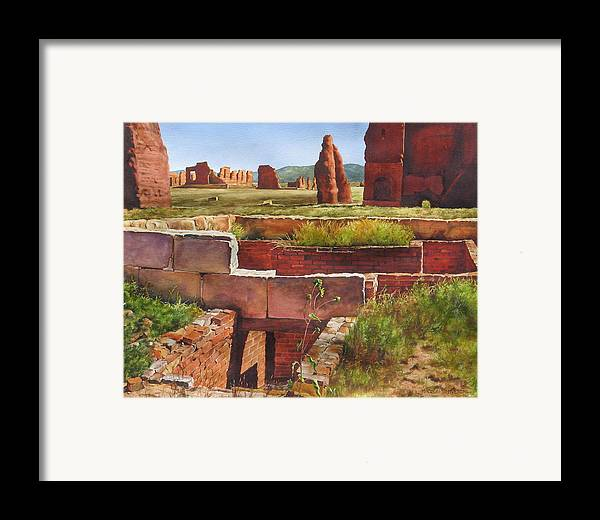 American History Framed Print featuring the painting Officer's Quarters - Ft.union by Marion Hylton
