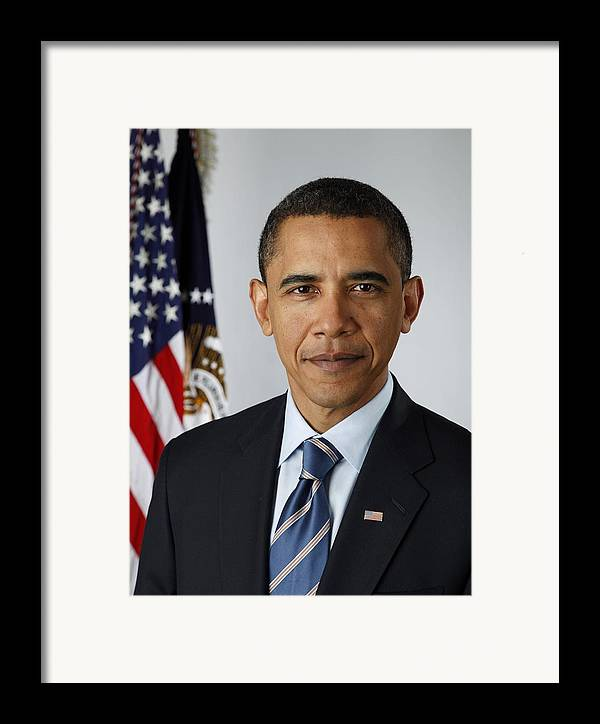 History Framed Print featuring the photograph Official Portrait Of President Barack by Everett
