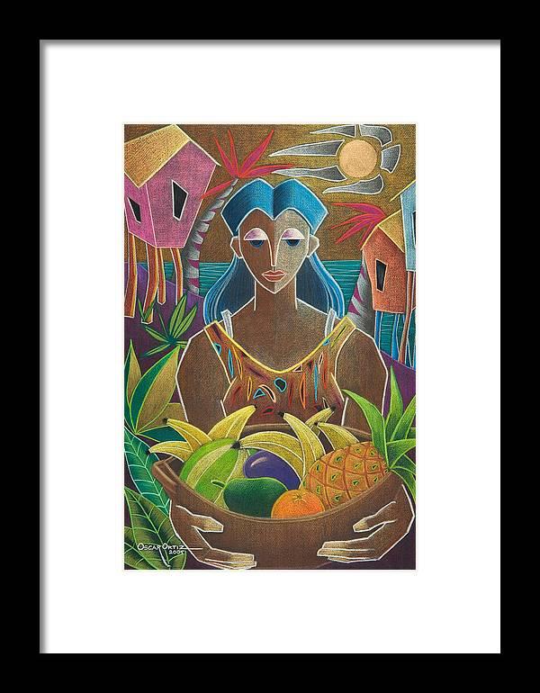 Female Framed Print featuring the painting Ofrendas De Mi Tierra by Oscar Ortiz