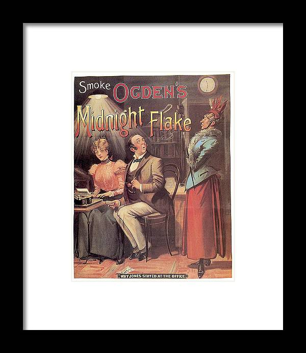 Vintage Framed Print featuring the mixed media Ogden's Midnight Flake - Tobacco - Vintage Advertising Poster by Studio Grafiikka