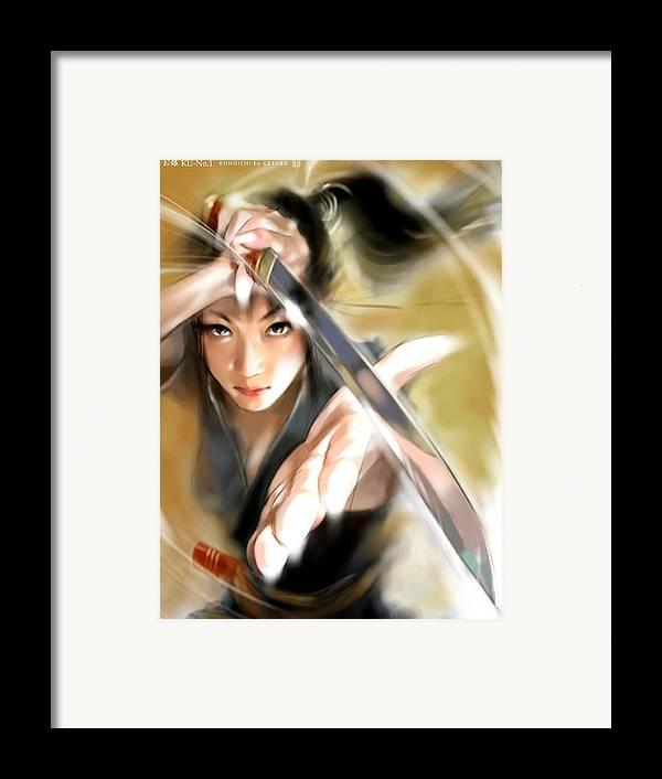 Japanese Digital Art Framed Print featuring the digital art Ogin by GETABO Hagiwara