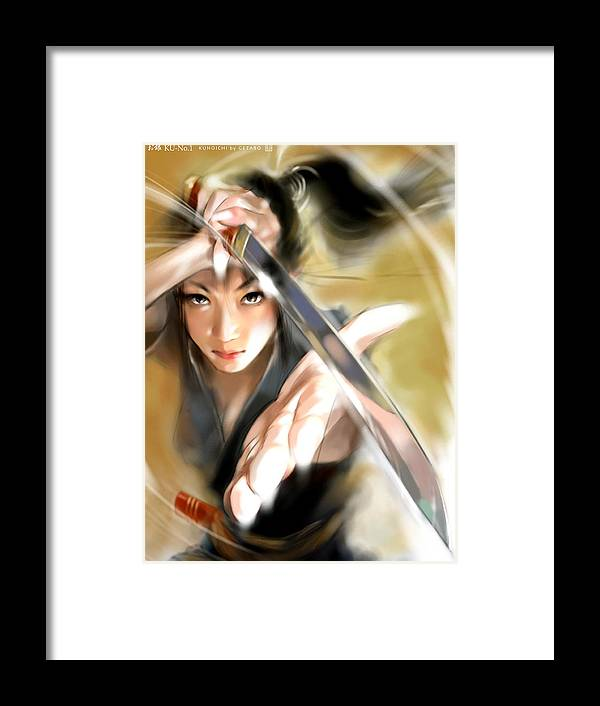 Japanese Digital Art Framed Print featuring the digital art Ogin by GETABO Hagiwara