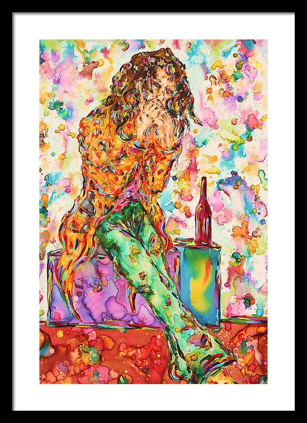 Figure Framed Print featuring the painting Oh Bottle Of Wine by Van David