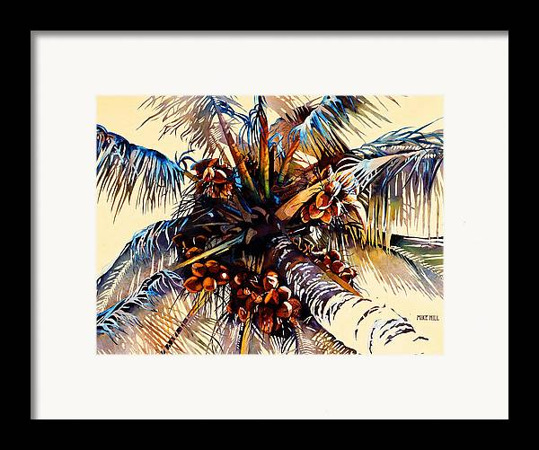 Sun Coconuts Palm Tree Breeze Wind Yellow Light Tropical Warm Hawaii Maui Hawaiian Framed Print featuring the painting Oh Nuts by Mike Hill