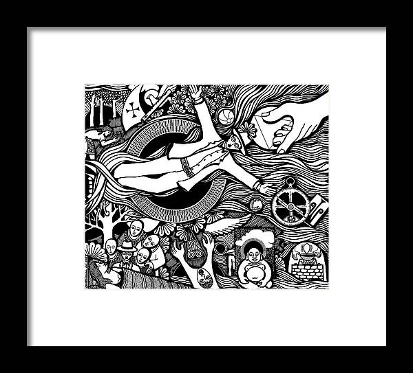 Drawing Framed Print featuring the drawing Oh Universe I Am Yours by Jose Alberto Gomes Pereira