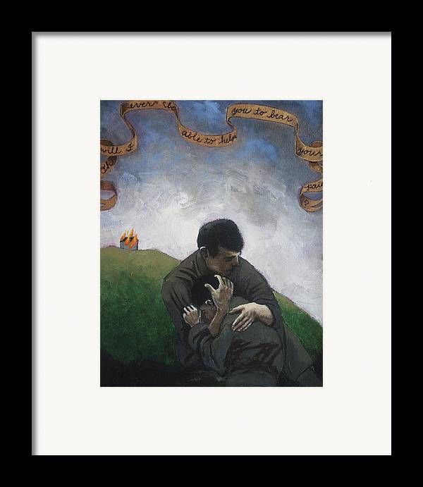 Men Framed Print featuring the painting Oh Will I Ever Be Able To Help You To Bear Your Pain by Pauline Lim