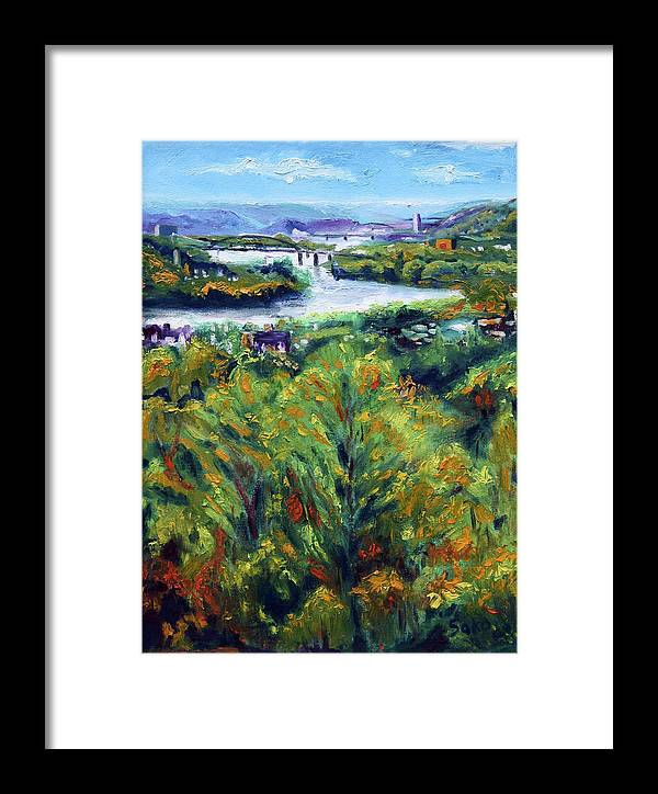 Landscape Framed Print featuring the painting Ohio River From Ayers-limestone Road by Robert Sako