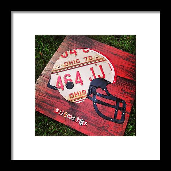 Football Framed Print featuring the photograph Ohio State #buckeyes #football Helmet - by Design Turnpike