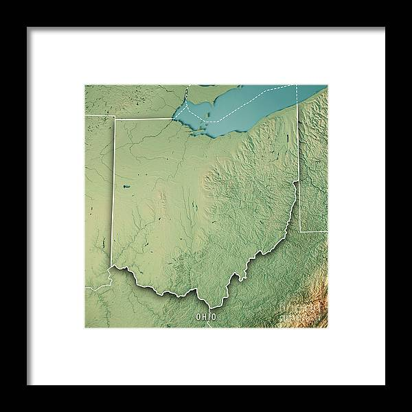 Ohio State Usa 3d Render Topographic Map Border Framed Print ... on ohio tennessee map, ohio south map, pennsylvania bordering canada map, ohio union map, ohio civil war map, ohio underground railroad map, ohio ohio map, ohio bordering states,