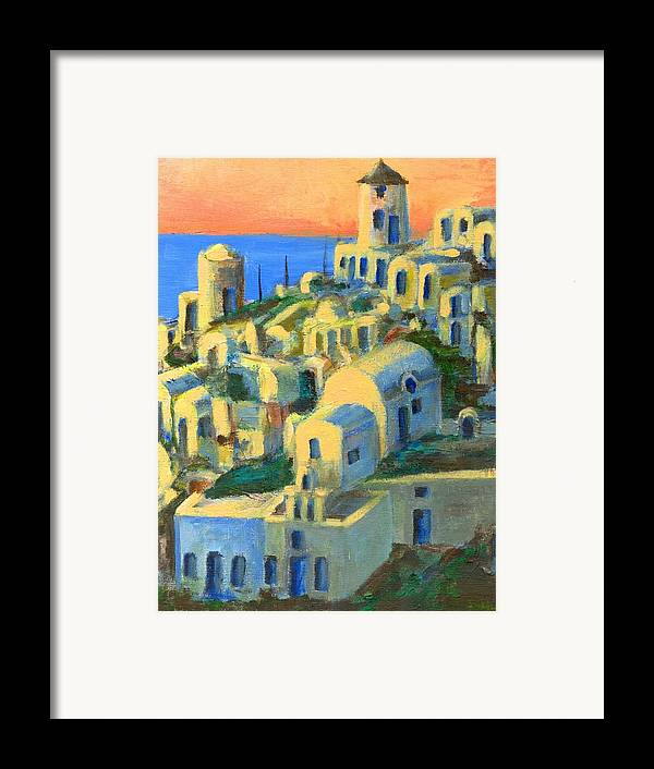 Oia Framed Print featuring the painting Oia. Santorini by Randy Sprout