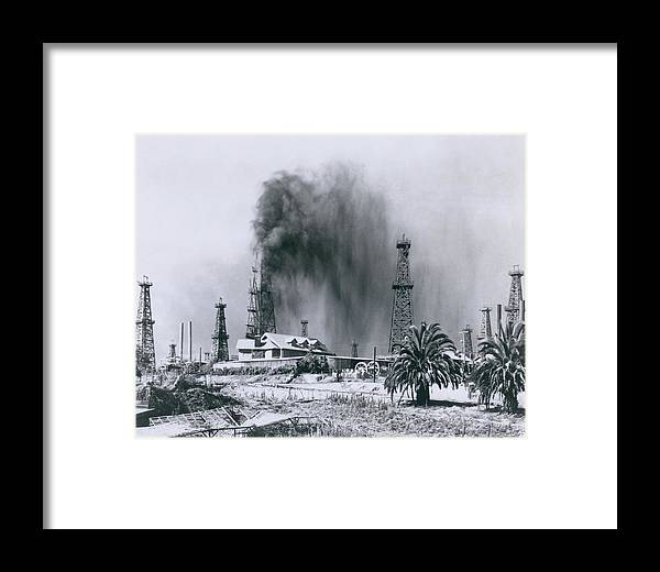 History Framed Print featuring the photograph Oil Gusher At Signal Hill In California by Everett