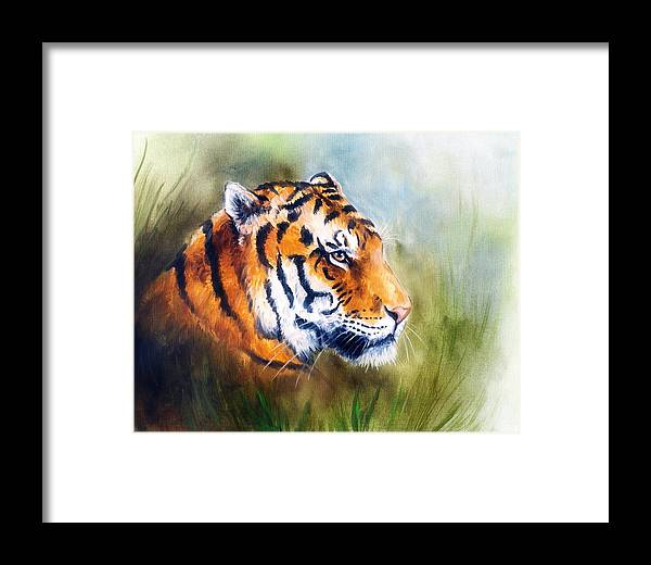 Art Framed Print featuring the painting Oil Painting Of A Bright Mighty Tiger Head On A Soft Toned Abstr by Jozef Klopacka