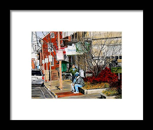 City Scene Framed Print featuring the painting Oil Stains And Red Nandina by Thomas Akers