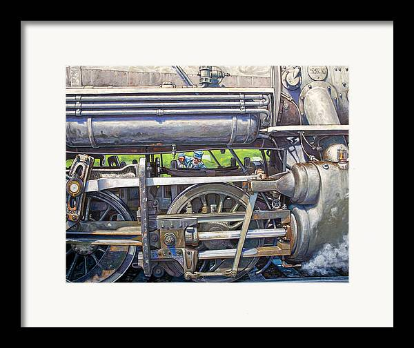 Train Framed Print featuring the painting Oiling The 28 by Gary Symington