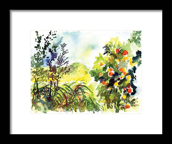 Ojai Framed Print featuring the painting Ojai Oranges by Lily Hymen