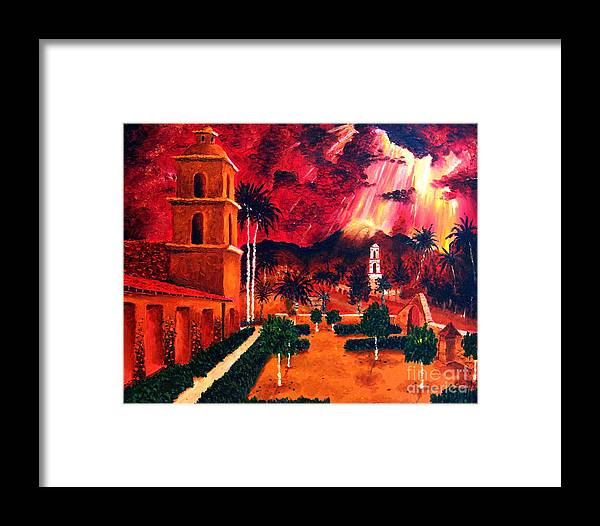 Cityscape Framed Print featuring the painting Ojai Red I by Chris Haugen