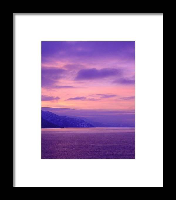 Purple Framed Print featuring the photograph Okanagan Evening by Bill Kellett