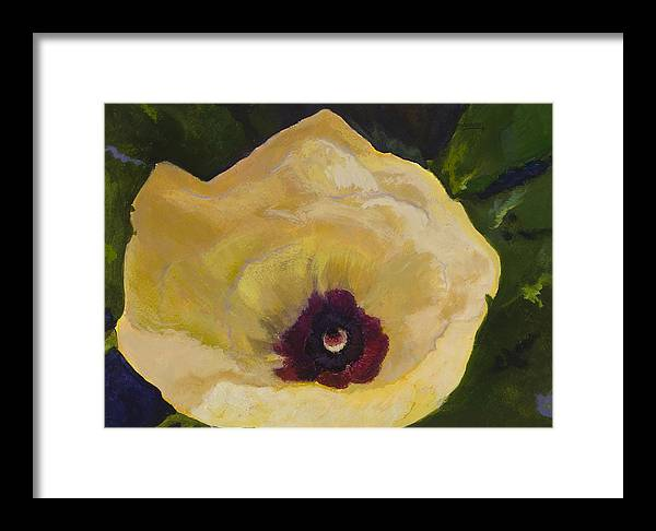 Flower Framed Print featuring the painting Okra Flower by Jimmie Trotter