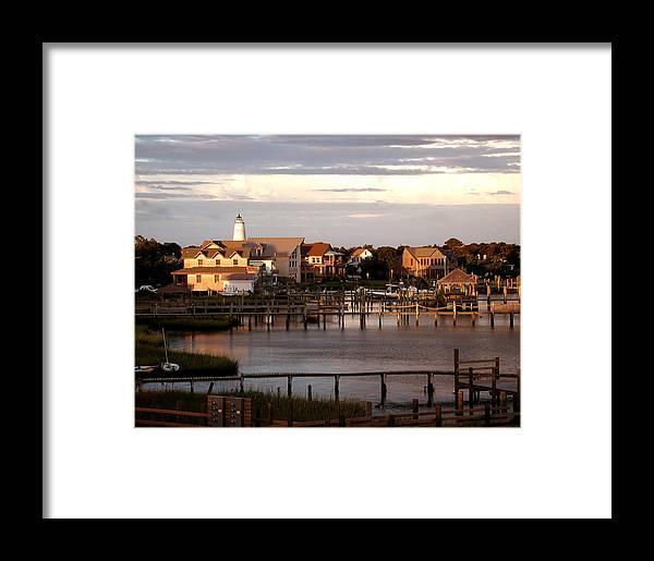 Lighthouse Framed Print featuring the photograph Okracoke Island Nc Sunrise by Robert Ponzoni