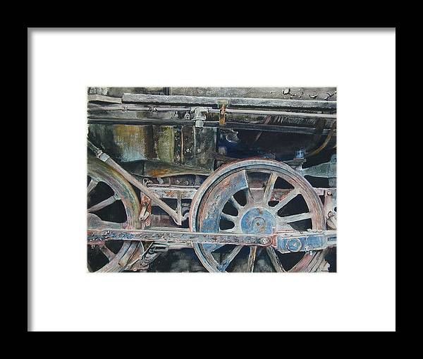Railroad Engine Framed Print featuring the painting Ol' 97 by Dwight Williams