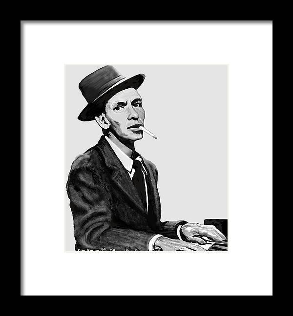 Frank Sinatra Framed Print featuring the digital art Ol Blue Eyes by Kim Souza