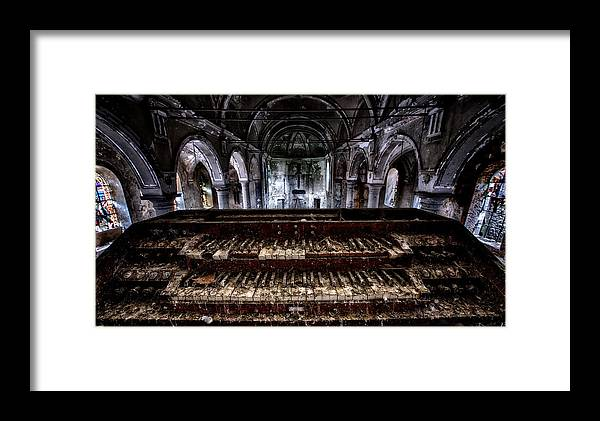 Abandoned Framed Print featuring the photograph Old Abandoned Church Organ In Decay by Dirk Ercken