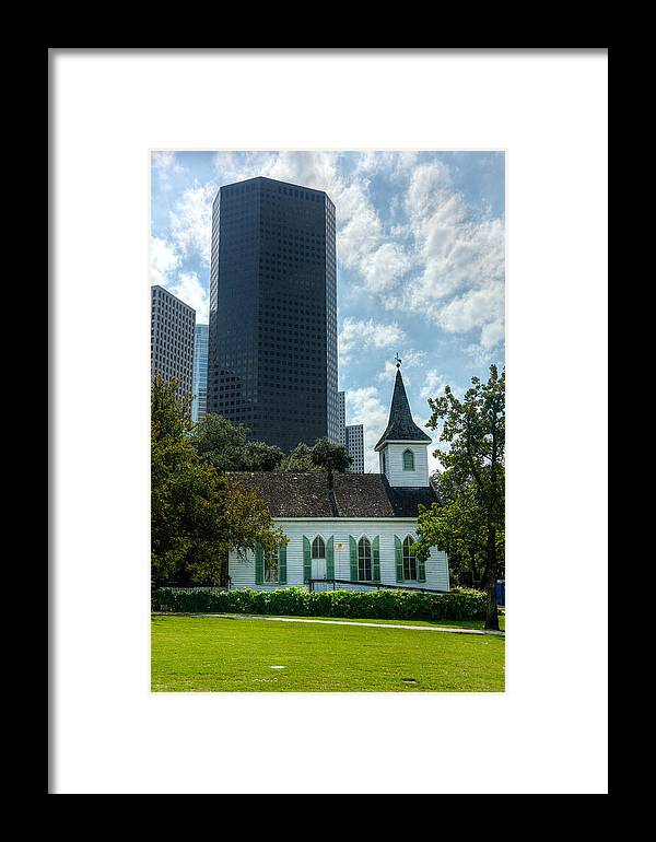Sam Houston Framed Print featuring the photograph Old And New Houston by Joan Baker