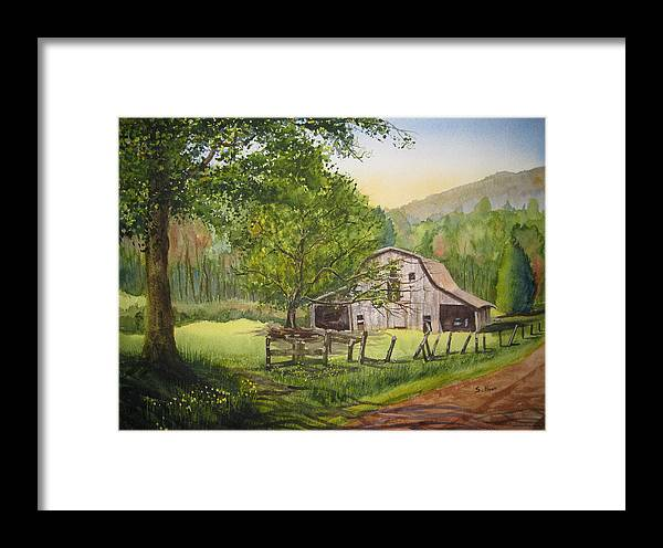 Barn Framed Print featuring the painting Old Apple Tree by Shirley Braithwaite Hunt