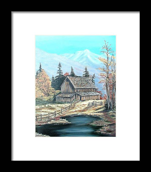 Landscape Pond Wagon Old Trees Mountain Framed Print featuring the painting Old Barn Above The Pond by Kenneth LePoidevin