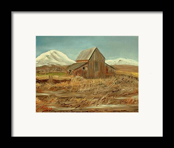 Landscape Barn Mountain Painting View Framed Print featuring the painting Old Barn And Mountain View by Kenneth LePoidevin